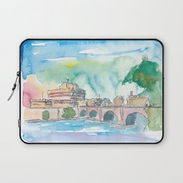 Rome Italy Castel Sant'Angelo Evening with Bridge Laptop Sleeve