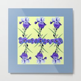 PURPLE WHITE IRIS & PANSIES GARDEN Metal Print