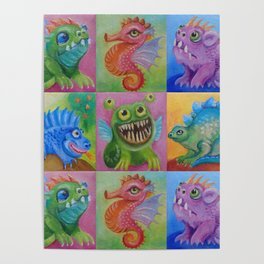 Baby Dragon Funny Monster Comic Illustration Painting for children Nursery decor Poster