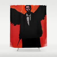castiel Shower Curtains featuring Castiel by Duke Dastardly