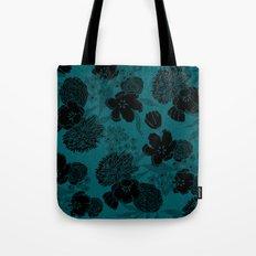 Sketchy Floral: Teal Black Tote Bag