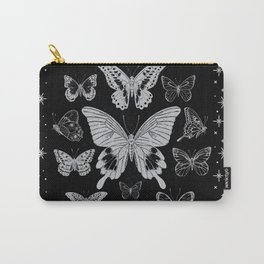 Vintage Butterflies in black and white - Retro Butterflies Carry-All Pouch