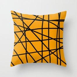 Doodle (Black & Orange) Throw Pillow