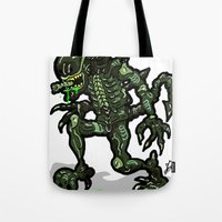 xenomorph Tote Bags featuring Xenophobe?  Well, yeah...  This Alien spits acid! The Aliens Xenomorph Alien! by beetoons
