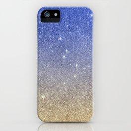 Modern sky blue faux gold ombre glitter iPhone Case