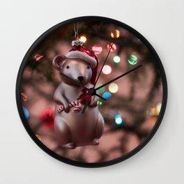Christmas Mouse Photography Print Wall Clock