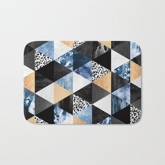 Blue Triangles Bath Mat