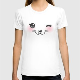 Kawaii funny cat with pink cheeks and winking eyes on white background T-shirt