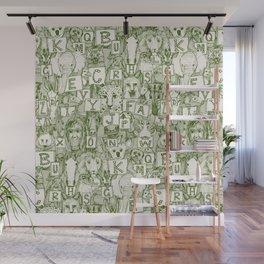 animal ABC green ivory Wall Mural