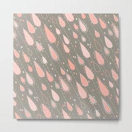 Dusty Rose Rain Drops Metal Print