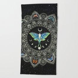 Lunar Moth Mandala with Background Beach Towel
