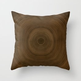 Earthy Tree Ring Pattern Throw Pillow