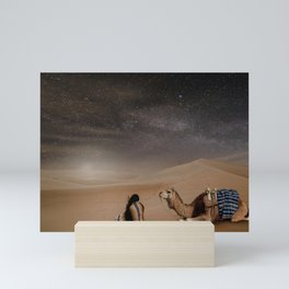 Desert Rest (Woman & Camel Landscape) Mini Art Print