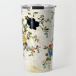 Cream Blue Yellow Floral Travel Mug