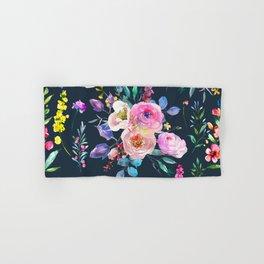 Colorful Watercolors Flowers Pattern Hand & Bath Towel