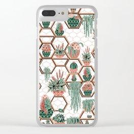 Christmas Succulent Garden. Echeveria, Cacti, plants, aloe vera, pachyveria, haworthia, holiday gift Clear iPhone Case