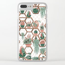 Succulent Garden. Echeveria, Cacti, plants, aloe vera, pachyveria, haworthia, holiday gift Clear iPhone Case