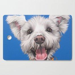 Joyful White Puppy Dog, Smiling Dog Portrait, Sweet Dog Wall Art Cutting Board