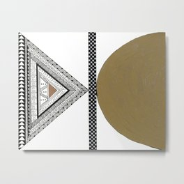 Geometric Shapes with Gold, Copper and Silver Metal Print