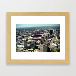 1987 St. Louis and Old Bush Stadium view Framed Art Print