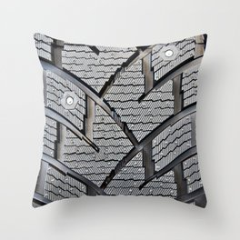 Background pattern winter stud tire Throw Pillow