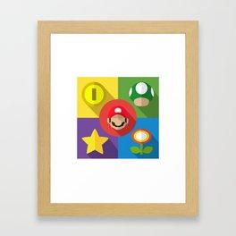 Super Mario flat Framed Art Print