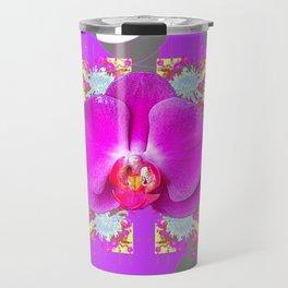 Modern Art Lilac-White Orchid Grey Patterns Travel Mug