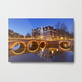 Bridges over canals in Amsterdam at night Metal Print