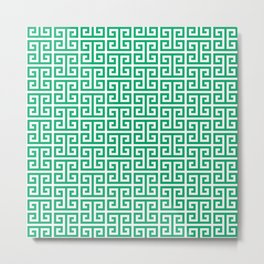 Jade and White Greek Key Pattern Metal Print