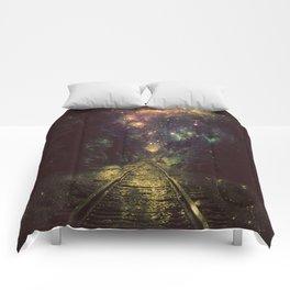 Train Tracks Next Stop Anywhere Dark Comforters