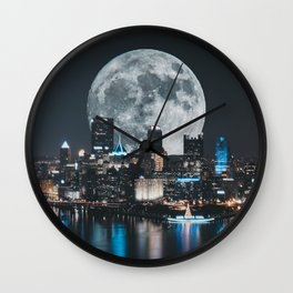 PGH #6 // Super Moon over Pittsburgh Wall Clock