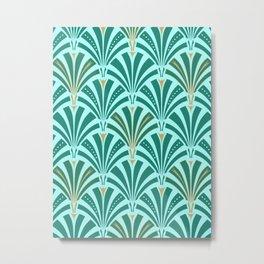 Art Deco Fan Pattern Turquoise on Aqua Metal Print
