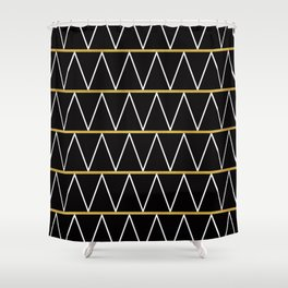 Black and gold zigzag Shower Curtain