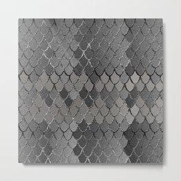 Mermaid Scales Silver Gray Glam #1 #shiny #decor #art #society6 Metal Print
