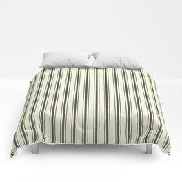 Mattress Ticking Wide Striped Pattern in Dark Black and Beige Comforters