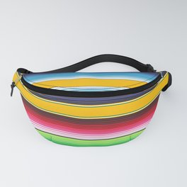 Yellow Blue Red Green Mexican Serape Blanket Stripes Fanny Pack