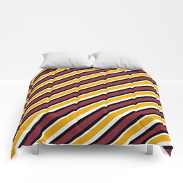 TEAM COLORS 1…Maroon Gold black and white diagonal stripe Comforters