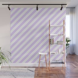 Chalky Pale Lilac Pastel and White Candy Cane Stripes Wall Mural