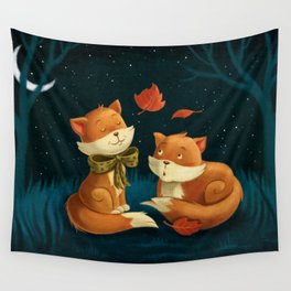 Sweet, cute little foxes In love overnight Wall Tapestry
