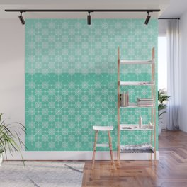 Portuguese Tiles of Lisboa in Green with Glitch Wall Mural