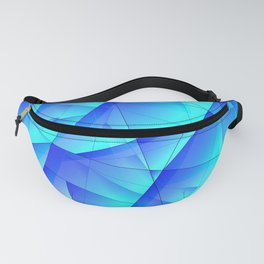 Abstract celestial pattern of blue and luminous plates of triangles and irregularly shaped lines. Fanny Pack