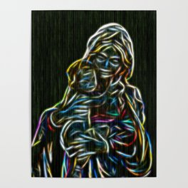 Mother and child neon glow - by Brian Vegas Poster