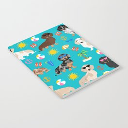 Dachshunds beach summer tropical vacation weener dogs doxie gifts Notebook