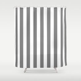 Narrow Vertical Stripes - White and Gray Shower Curtain