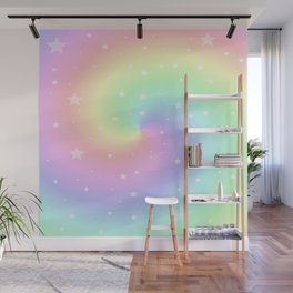 Rainbow Swirls and Stars Wall Mural