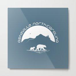 Asheville - Mountains & Black Bears - AVL 11 White on Greyblue Metal Print