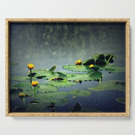 lily pads in the rain at Vernonia Lake Serving Tray
