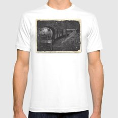 Spooky Train MEDIUM Mens Fitted Tee White