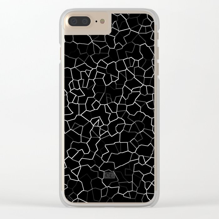 White on Black Crackle Clear iPhone Case