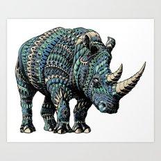 Rhinoceros (Color Version) Art Print